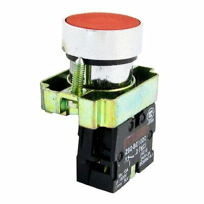 Red Flat Cap Panel Mounting 2-Terminals Push Botton Switch Ui600V Ith10A SPST