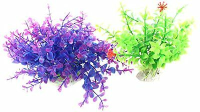 Sourcingmap Plastic Fish Tank Aquatic Grass/Plants, 2 Pieces, Purple/ Green