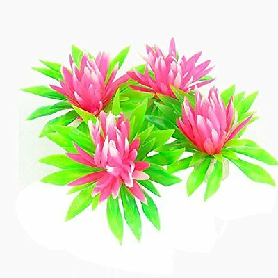 Sourcingmap Fish Tank Decoration Plants, 2.2-inch, Pack of 4, Green/ Pink