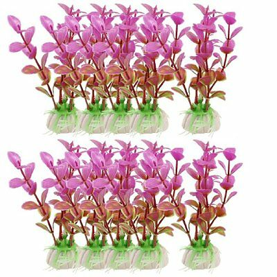Sourcingmap Plastic Aquarium Manmade Plant, 3.9-inch, 10 Pieces, Green/ Fuchsia