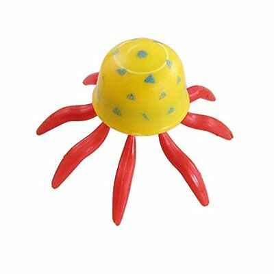 Sourcingmap Plastic Aquarium Octopus Ornament, 5 Pieces, Yellow/ Red