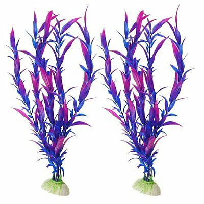 Sourcingmap Plastic Water Grasses Ornament, 27 cm, Pack of 2, Fuchsia/ Blue