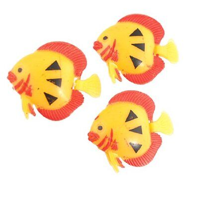 sourcingmap Plastic Aquarium Floating Fish Ornament, 3 Pieces, Yellow/ Red