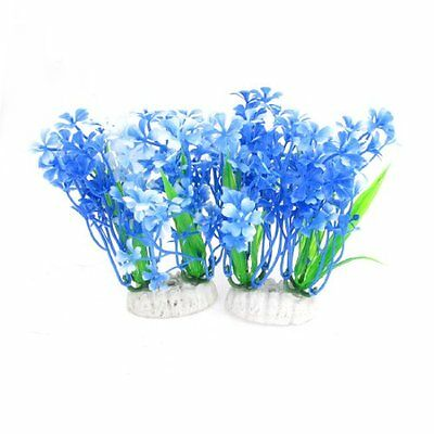 Sourcingmap Artificial Fish Tank Grass, 13.5 cm, Pack of 2, Blue/ White/ Green