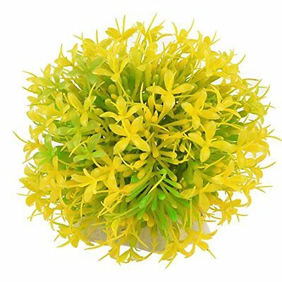 Sourcingmap Plastic Aquarium Manmade Grass/Plant Ornament, 3.9-Inch, Yellow/Gree
