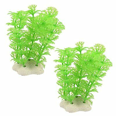 Sourcingmap Plastic Snow Shape Fish Tank Leaf Plant, 3.9-Inch, Light Green