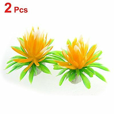 Sourcingmap Plastic Tank Leaves Water Lily Flower Plant Decor, Orange/Green