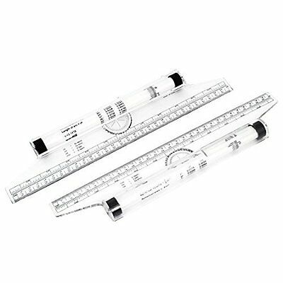 Art Drawing Tool Squares Angles Parallel Line Rolling Ruler 30cm 2PCS
