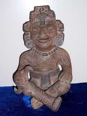 Vintage Pre Columbian Style Terra Cotta Sitting Tribal Maya Figure Aztec Mexico