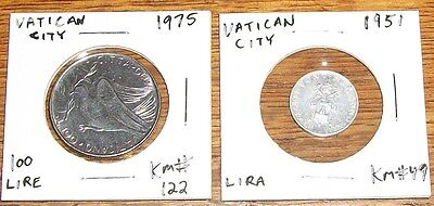 Vatican City Papal Rome Coin 1951 Lira 1971 1975 Lire Red Deer Temperance Dove