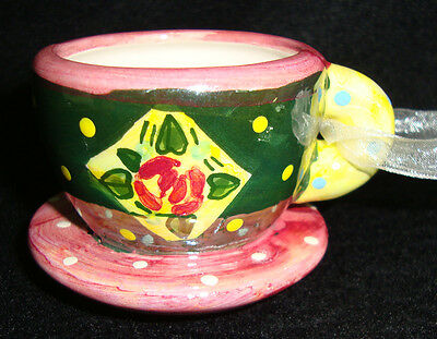 Mary Engelbreit Miniature Tea Cup Ornament, Pink with Green/Yellow Dots, Flowers
