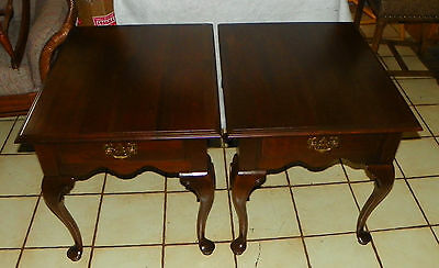 Pair of Solid Cherry Mid Century End Tables / Side Tables by Ethan Allen  (T403)