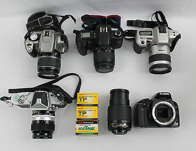 SLR/DSLR Camera + Lens Lot: Nikkormat, Canon Rebel G,XT,XSi, Minolta, Film AS IS
