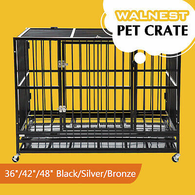 "37""/42""/48"" Heavy Duty Large  Dog Crate Kennel Pet Cage House w/ Tray Wheels"