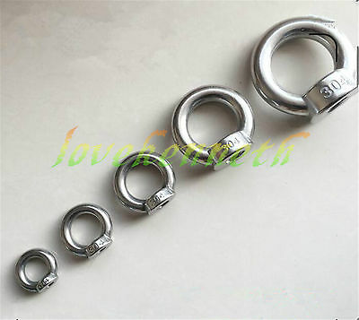 1/2/5/10 pc Eye Nut Stainless Steel Loop Hole for Cable Rope Lifting M5 To M20