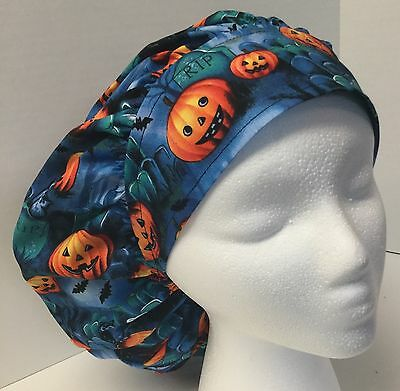 Halloween Spooky Graveyard Medical Bouffant OR Scrub Cap Surgical Surgery Hat