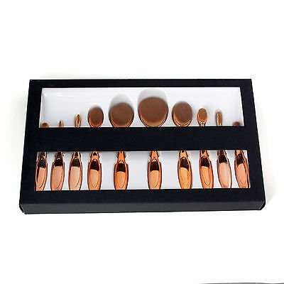 Professional 10Pcs Makeup Brushes Set & Oval Cream Eyeshadow Eyeliner Toothbrush