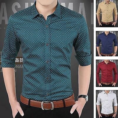 2016 Stylish Mens Long Sleeve Casual Slim Fit Dress Shirts Luxury Business Tops