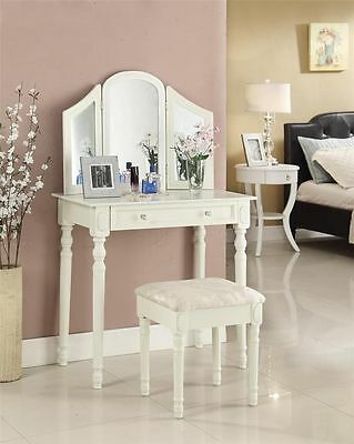 Large Drawers Luxury 3xMirror Jewellery Wooden Dressing Table Organsier & Stool