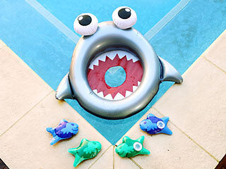 Inflatable Shark Mouth Fish Toss Game Throw Pool Toy Summer 72.5 x 58cm Airtime