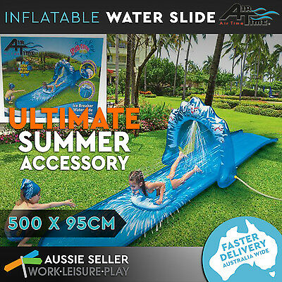 Inflatable Water Slide Ice Breaker Slip Sprayer and Board Toy Summer 500 x 95cm