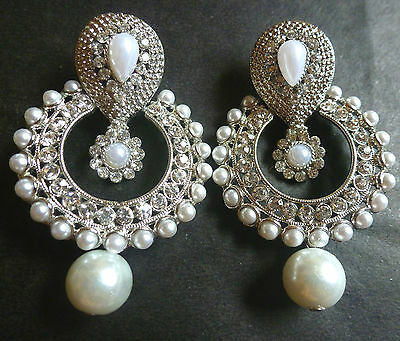 Indian Silver Plated CZ stone Round Dangler Drop Indian Earrings Pearl Jhumka
