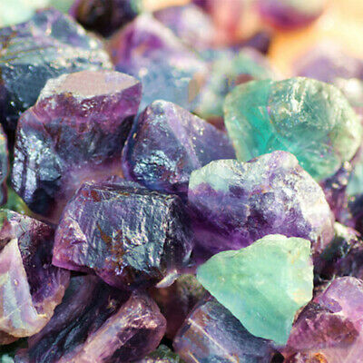 100g Rare Fluorite Crystal Octahedrons Purple Green Stone Natural Collection