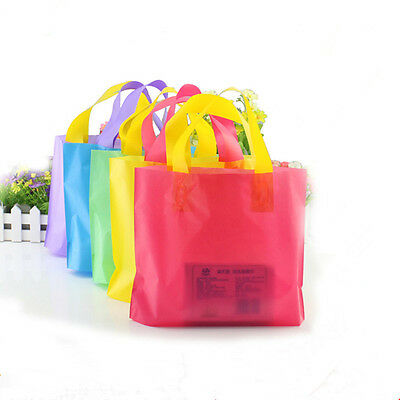 Colorful Plastic Shopping Bag with Handles Grocery Gift Favor Pack Pouch