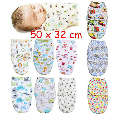 Newborn Baby Infant Soft Swaddle Wrap Swaddling Blanket Sleeping Bag For 0-3M UK