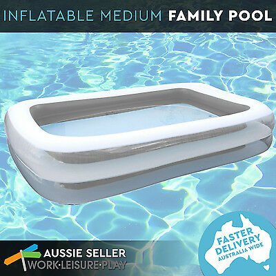 Inflatable Family Swimming Wading Pool Rectangular Medium Deep Outdoor Grey 200