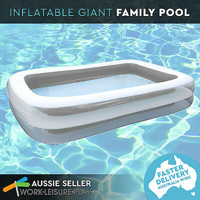 Inflatable Pool Rectangular Family Giant Deep Outdoor 2 Ring Grey 305 x 183 x 56