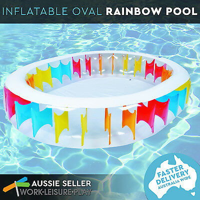 NEW Inflatable Pool Oval Family Large Deep Outdoor Wading Pool Rainbow 250 x 208