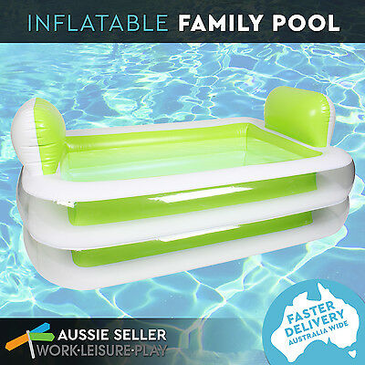 Inflatable Family Swimming Pool Rectangular Pillows Outdoor Green 152x108x6