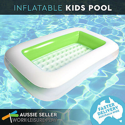 NEW Inflatable Kids Swimming Pool Rectangular Transparent Green Kids Pool 162 x