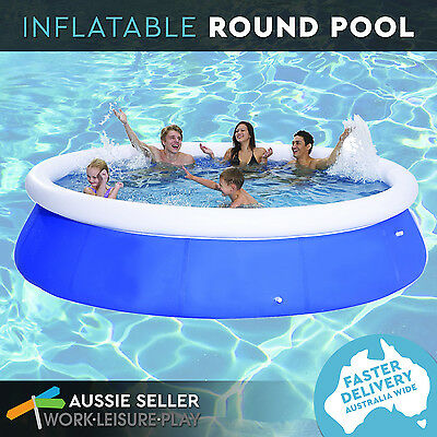 10ft Inflatable Pool Prompt Set Up Round Family Large Deep Outdoor Blue 300x76cm