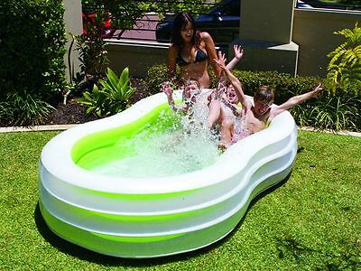 Inflatable Pool Kids Childrens Family Wading Figure 8 Pool Green Lagoon  240 x 1