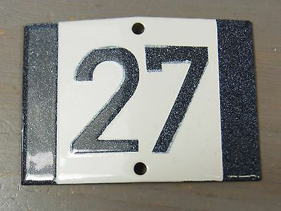 YH8 * Rare Porcelain Enameled House Number Sign 27 * Antique German 1930's
