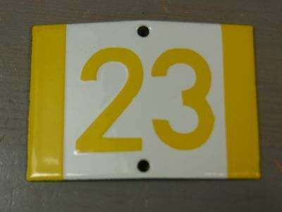 YH3 * Rare Porcelain Enameled House Number Sign 23 * Antique German 1930's