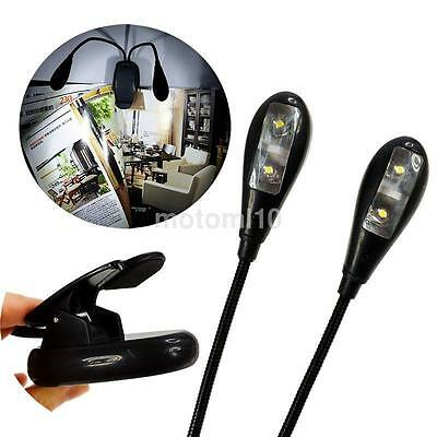 Gooseneck Design 2 Dual Arm Clip-On Light 4 Led Lamp For Book Reading Tablet PC