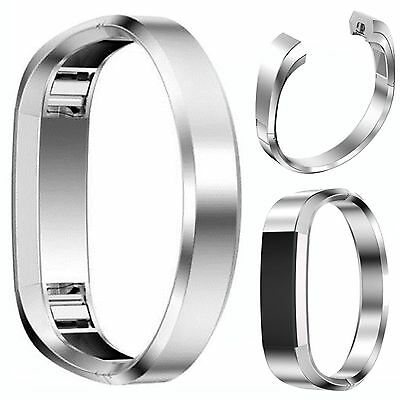 Silver Stainless Steel Cuff  Bracelet Metal Watch Band Strap For Fitbit Alta