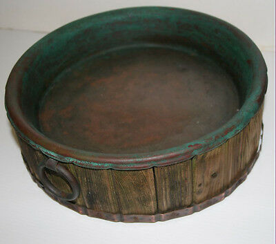 Antique heavily worn planter plant stand Handmade wood and copper pot