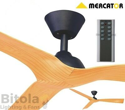 NEW MERCATOR TRINIDAD II BLACK/TIMBER 30w DC CEILING FAN WITH REMOTE 1300mm