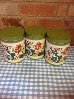 Vintage Canister Set Tins 1950s Retro Tea Coffee Sugar Green Floral Kitchen