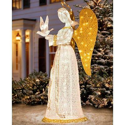 OUTDOOR LIGHTED CHRISTMAS ANGEL WITH DOVE Sculpture Yard Art Holiday Decoration