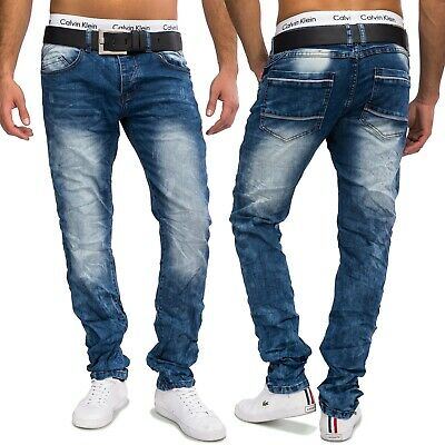 372abbf1f7c015 Herren Jeansnet Used Look Jeans Nr.1603 Tapered Slim Fit Denim Hose Stone  Washed