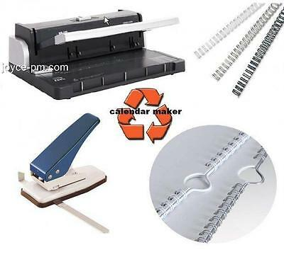 Heavy Duty Calendar Making Kit with Thumb Cut Punch & 200 White Wires & Hangers