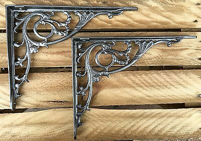 "Pair Pewter 10x8"" ANTIQUE HEAVY CAST IRON VICTORIAN SHELF WALL BRACKETS BR28px2"
