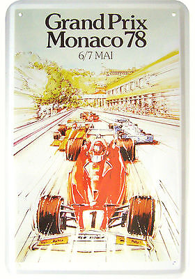 """grand Prix Monaco 1978"" Formel 1 Rennplakat Deko Blechschild Replik Tin Sign"
