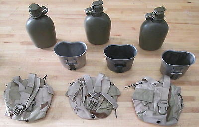 {3 }Us Military 1 Quart Canteens, Desert Camo Covers  & Cups ~Gently Used~