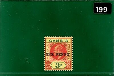 BLACK199 Gambia 1906 1d on 3s SURCHARGE DOUBLE fine mint LMM SG.70a cat £1,800-